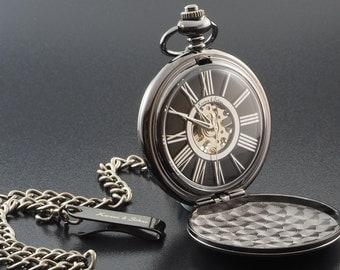 Personalised Engraved Black Skeleton Pocket Watch - Gift Boxed PW-9-M