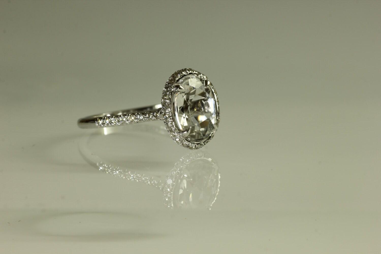 unique halo ring white topaz gemstone engagement ring