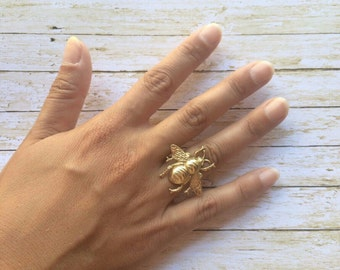Bee Adjustable Ring Gold Brass Bumble Bee Ring