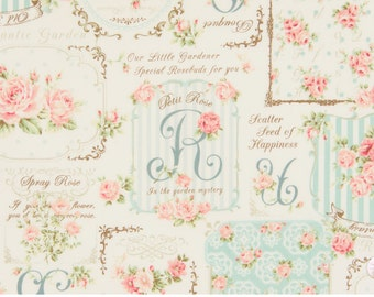 Quilt Gate Rose Bouquet - Ruru Bouquet - Rose Frame QG222012C Blue, 1 yard