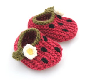 Wool Baby Strawberry Slippers, Booties, Crib Shoes