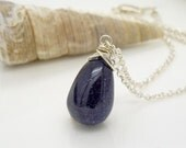 Blue goldstone necklace, sterling silver, simple dark blue goldstone pendant, bright silver, navy blue jewelry