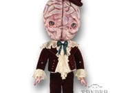 "Didier - halloween doll ornament articulated Paper Doll - 15.4""- victorian halloween decor art doll monster brain child paper puppet"