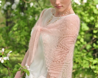 Blush pink knitted shawl, weddings , bridal wrap, peach color, laces scarf, mohair with silk, handknitted laces stola