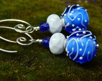 Twilight Sky Earrings - Gorgeous Blue & White Handmade Lampwork Glass Beads w Vintage Czech Glass and Handmade Sterling Silver Ear Wires