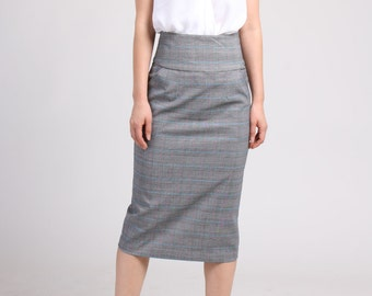High Waist Pencil Skirt with Pocket, Gray Skirt,  Checker Skirt, Tailored Skirt, Office Skirt, Knee Length Skirt, Straight Skirt
