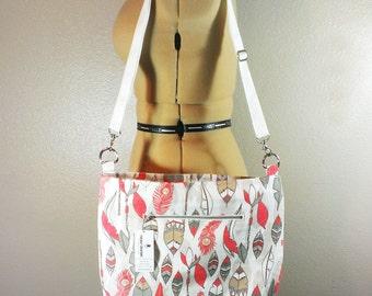 Travel Bag Feather Crossbody Bag Coral Purse Indian Handbag Southwest Purse Navajo Bag Large Purse