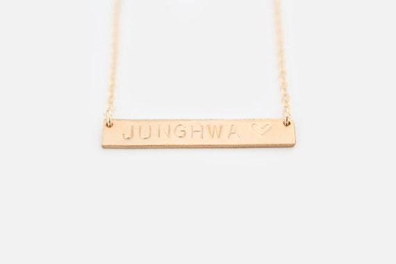 Custom Nameplate Necklace - Hand Stamped Necklace - GOLD Horizontal Bar - 14k Gold Filled