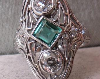 Antique Platinum Filigree Edwardian - Art Nouveau Diamond & Emerald North South Dinner Ring .60 cts