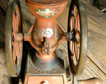 ANTIQUE COFFEE MILL Iron and Wood Grinder Enterprise Mfg. Co. Philadelphia Pennsylvania Hand Painted in the 1950's Made in Early 1900's
