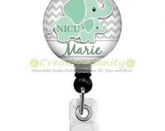 Personalized NICU Retractable ID Badge Holder, Grey Chevron/Elephants, Choice of Retractable Badge Reel,Carabiner,Lanyard or Steth ID Tag