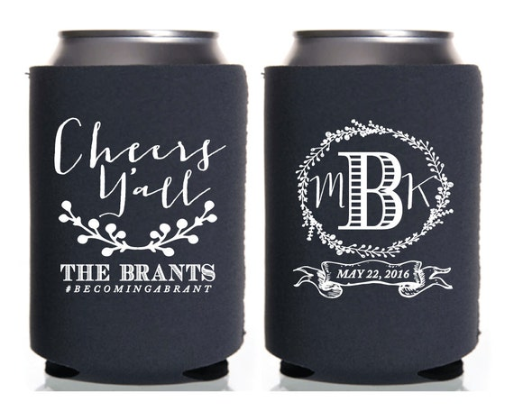 Personalized Can Coolers ~ Personalized can coolers wedding favor cheers yall