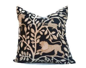 Robert Allen, Pillow Cover, Accent Pillow, 18x18 20x20 22x22 or 14x20 Lumbar Pillow, Throw Pillow, Pantheon Print, Navy Blue, Cream, Tan