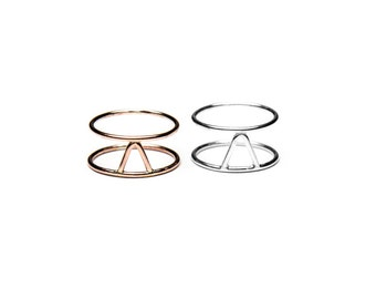 Triangle Cage Ring - Sterling Silver, Yellow Gold, or Rose Gold