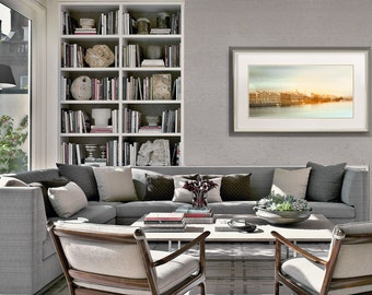 Panoramic wall art , St Petersburg cityscape print, Panoramic photography large wall art, pastel mint living room decor, 10x20, 12x24, 18x36