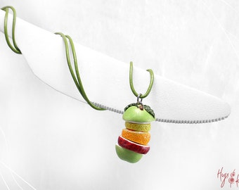 Fruit slices Necklace, Fruit Charm, Apple Lemon Orange Charm, Fruits Necklace, Miniature Fruits, Food Miniature, Kawaii Jewelry, Foodie gift