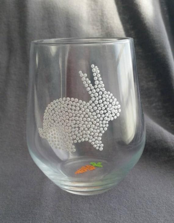 bunny wine glasses rabbit wine glasses spring wine glass. Black Bedroom Furniture Sets. Home Design Ideas