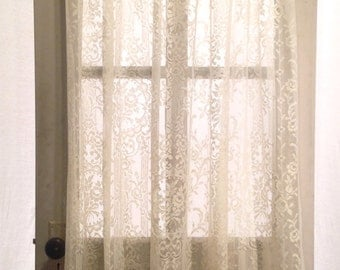 "long ivory white French country chic floral lace curtain; 54"" x 50"" panel, polyester shabby cottage window treatment; yesteryears classic"