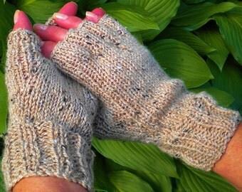 Half Finger Gloves Ladies' Beige Hand Knit Merino Wool, Alpaca, Donegal Tweed Knit Half Finger Gloves Light Tan Ladies' Knit Hand Warmers