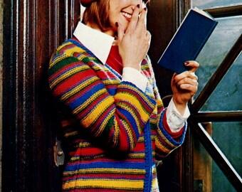 Crayon Colors Cardigan Sweater Vintage Knitting Pattern Download