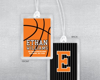 Basketball bag tag. Basketballl luggage tag.
