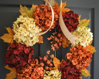Fall Hydrangea Wreath | Fall Wreath | Fall Decor | Wreath | Front Door Wreaths | Fall Wreath for Front Door | Thanksgiving Decor | Wreaths