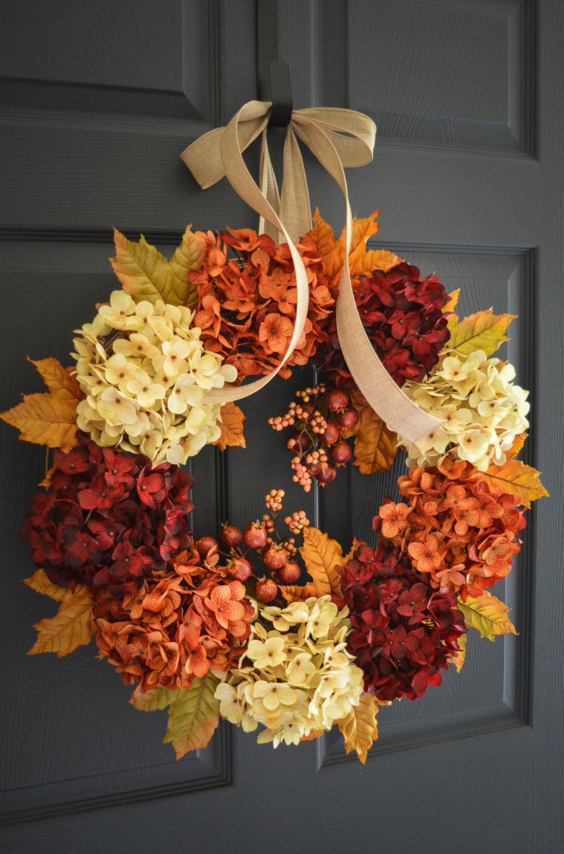 fall hydrangea wreath fall wreath fall decor wreath