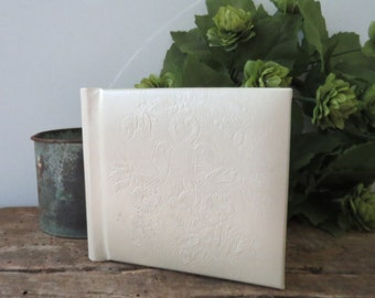 "Vintage Wedding Photo Album Hallmark Snapshot White with Doves 3 1/2"" Square Photo Album 10 Pages Mid-Century New in Box"