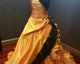 Halloween Wedding Dress with Orange and Black Bridal Gown