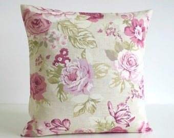 Pink Pillow Cover, Floral Cushion Cover, Shabby Chic Pillow Sham, Country Pillow, Cottage Chic - Country Flowers Heather