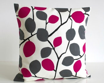 Toss Pillow Cover, Pillowcase, Scatter Cushion, Pillow Sham, Cushion Cover, Throw Pillow, Pillow Cover - Nordic Leaves Fuchsia