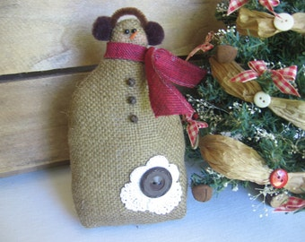 "Primitive Plush Snowman, Brown Burlap Snowman, Rustic Snowman, Snowman Doll, 7 1/2"" Snowman, Christmas Decorations, Brown Cranberry Beige"