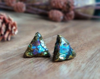 Faux boulder opal earrings, triangle studs, geometric jewelry, minimal post earrings, earthy, rustic, irridescent polymer clay earrings