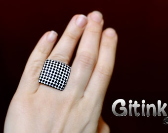 Geometric ring Black and white ring Modern jewelry Minimalist ring Square ring Statement ring Dots jewelry for her Birthday gifts for women