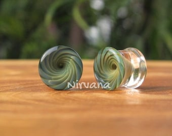 "Exotic Green Glass Vortex Plugs - One Pair (2 pieces) Pyrex Gauges 00g 7/16"" 1/2"" 9/16"" 5/8"" 9.5 mm 10 mm 11.1 mm 12.7 mm 14 mm 16 mm"