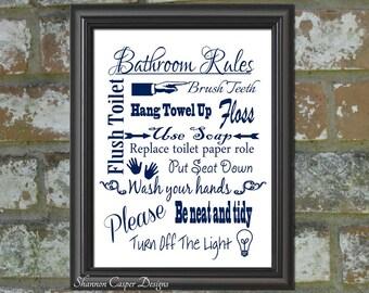 Bathroom Decor printable, Instant Digital Download, Navy Blue and White Art, Bathroom Rules