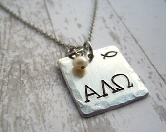 Greek Letters necklace, hand stamped, sorority necklace