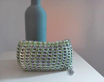 bright green pop tab wristlet