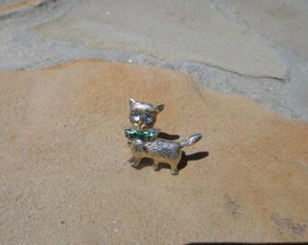 Vintage Pin Pendant Estate Cat Brooch Pendant Pin Rhinestone Eyes Vintage Jewelry