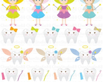 Tooth fairy vector - Digital Clipart - Instant Download - EPS,  PNG files included