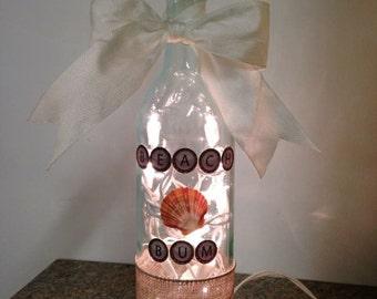 Beach Bum wine bottle lamp, wine bottle light, nautical decor, beach decor, night light