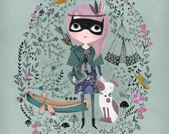 Spy Girl....Giclee print of an original illustration