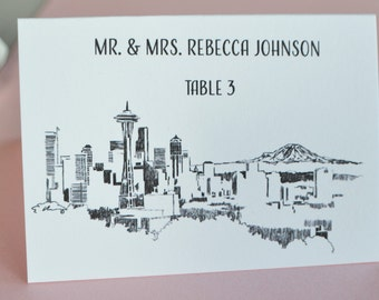 Seattle Skyline Place Cards Personalized with Guests Names (Sold in sets of 25 Cards)