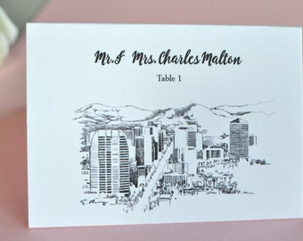 Phoenix Skyline Place Cards Personalized with Guests Names (Sold in sets of 25 Cards)
