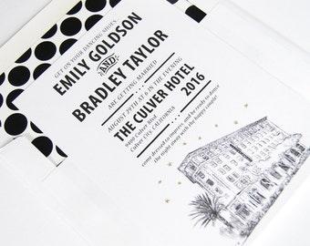 Culver Hotel Wedding Invitation Package (Sold in Sets of 10 Invitations, RSVP Cards + Envelopes)