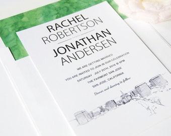San Jose Skyline Wedding Invitation Package (Sold in Sets of 10 Invitations, RSVP Cards + Envelopes)