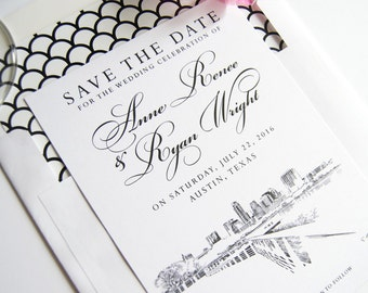 Austin, Texas Skyline View Hand Drawn Bicycle for 2 Save the Date Cards (set of 25 cards)