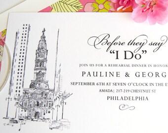 Philadelphia City Hall Skyline Rehearsal Dinner Invitations (set of 25 cards)