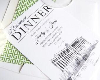 Bellagio Hotel Las Vegas Skyline Rehearsal Dinner Invitations (set of 25 cards)