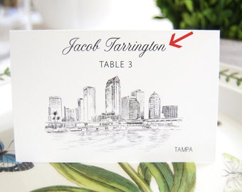 City Skyline Folded Place Cards Pre-Printed with Guest Names  (Set of 25 Cards)
